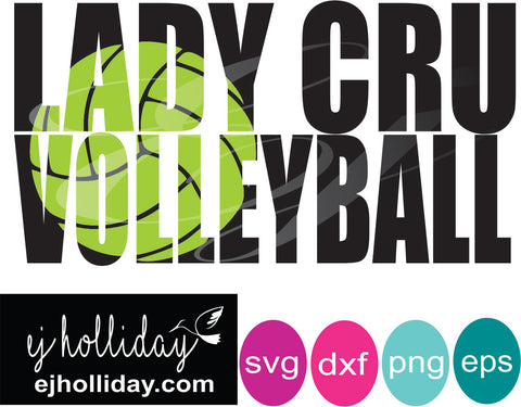 Lady Cru Volleyball knockout design SVG EPS DXF JPG JPEG VECTOR Graphic Design Digital Cutting File Instant Download Cameo Silhouette Cricut