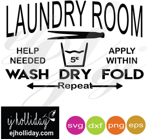 Laundry Room SVG EPS DXF PNG VECTOR Graphic Design Digital Cutting File Instant Download Cameo Silhouette Cricut