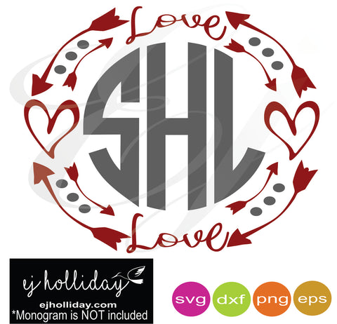 Love Monogram Hearts Frame svg dxf eps png Vector Graphic Design Digital Cutting File Instant Download Cameo Silhouette Cricut