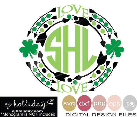 Love St Patrick's Day frame svg eps dxf png jpeg jpg VECTOR Graphic Design Digital Cutting File Instant Download Cameo Silhouette Cricut