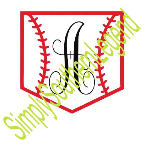 "MONOGRAM BASEBALL POCKET ""A""  Vinyl Design"