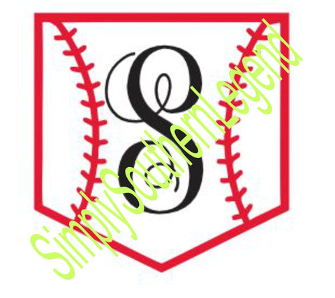"MONOGRAM BASEBALL POCKET ""S""  Vinyl Design SVG DXF"