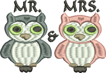 MR. AND MRS. OWLS Embroidery Design 4X4