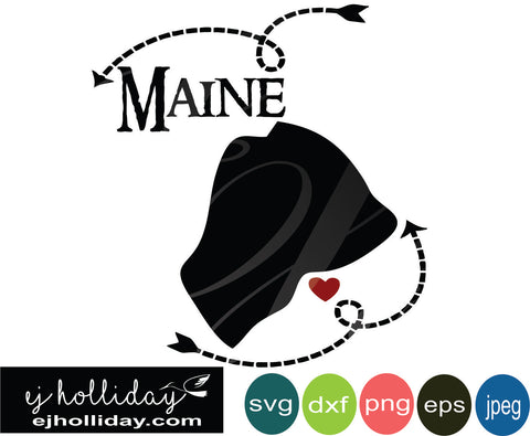 Maine silhouette heart arrows 18 svg eps png dxf jpeg jpg vector Graphic Design Digital Cutting File Instant Download Cameo Silhouette Cricut