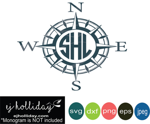 Mariner Monogram Compass DC svg eps jpeg jpg png dxf Graphic Design Digital Cutting File Instant Download Cameo Silhouette Cricut