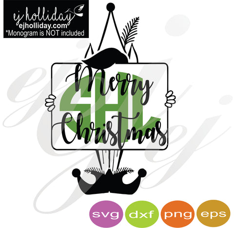 Merry Christmas Elf Monogram SVG EPS DXF PNG VECTOR Graphic Design Digital Cutting File Instant Download Cameo Silhouette Cricut