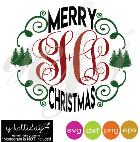 Merry Christmas Monogram Frame SVG EPS DXF PNG VECTOR Graphic Design Digital Cutting File Instant Download Cameo Silhouette Cricut