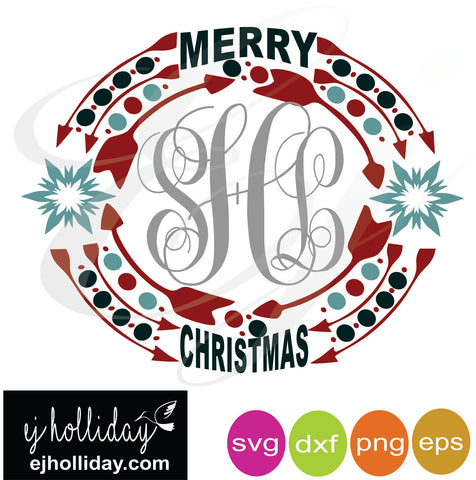 Merry Christmas snowflakes  Monogram frame svg dxf eps png VECTOR Graphic Design Digital Cutting File Instant Download Cameo Silhouette Cricut