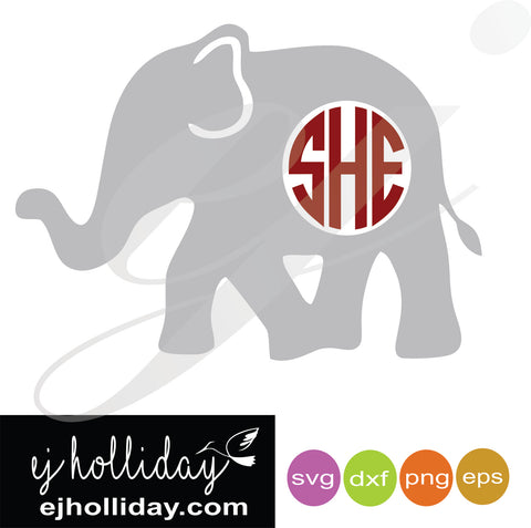 Monogram Elephant SVG EPS DXF PNG VECTOR Graphic Design Digital Cutting File Instant Download Cameo Silhouette Cricut