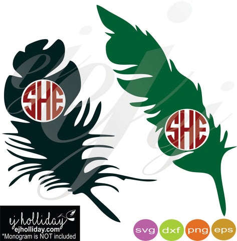 Monogram Feathers SVG EPS DXF PNG VECTOR Graphic Design Digital Cutting File Instant Download Cameo Silhouette Cricut