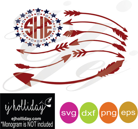 Monogram Flag with arrows SVG EPS DXF PNG VECTOR Graphic Design Digital Cutting File Instant Download Cameo Silhouette Cricut