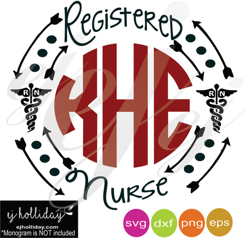 Monogram Frame Registered Nurse SVG EPS DXF PNG VECTOR Graphic Design Digital Cutting File Instant Download Cameo Silhouette Cricut