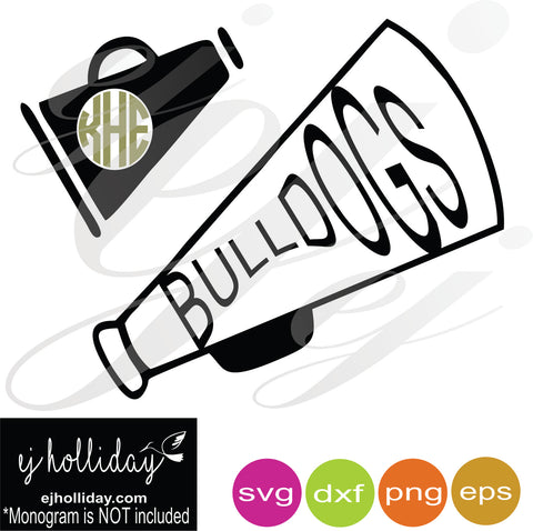 Monogrammed and Bulldog Megaphone SVG EPS DXF PNG VECTOR Graphic Design Digital Cutting File Instant Download Cameo Silhouette Cricut