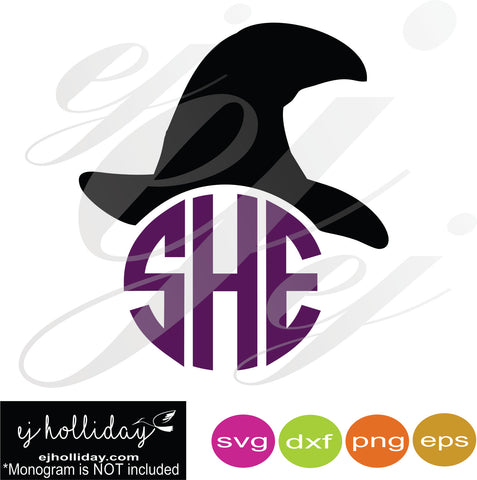 Monogram Witch Hat SVG EPS DXF PNG VECTOR Graphic Design Digital Cutting File Instant Download Cameo Silhouette Cricut