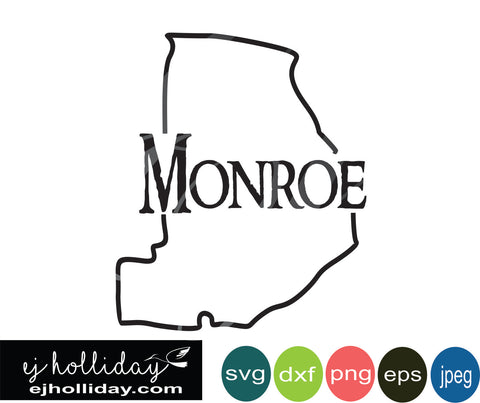 Monroe County Georgia svg eps png dxf jpeg jpg vector Graphic Design Digital Cutting File Instant Download Cameo Silhouette Cricut