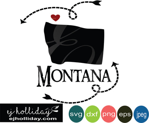 Montana silhouette heart arrows 19 svg eps png dxf jpeg jpg vector Graphic Design Digital Cutting File Instant Download Cameo Silhouette Cricut