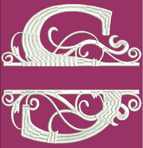Fancy Letter S Embroidery Design 4X4 5X7 and 8X12