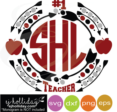 Number 1 teacher monogram frame svg dxf eps png VECTOR Graphic Design Digital Cutting File Instant Download Cameo Silhouette Cricut