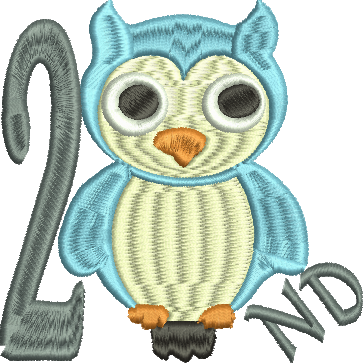 OWL 2ND SECOND Embroidery Design 4X4