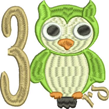 OWL 3RD THIRD Embroidery Design 4X4