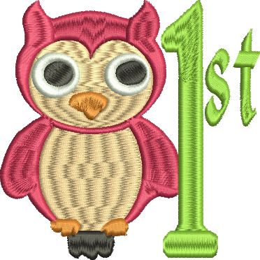 OWL 1ST FIRST Embroidery Design 4X4