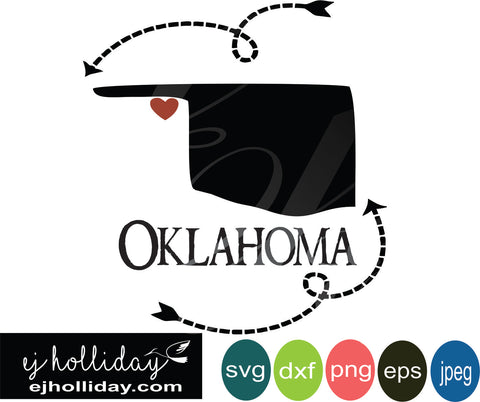 Oklahoma silhouette heart arrows 19 svg eps png dxf jpeg jpg vector Graphic Design Digital Cutting File Instant Download Cameo Silhouette Cricut