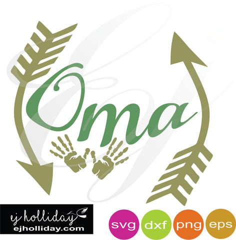 Oma with hands SVG EPS DXF PNG VECTOR Graphic Design Digital Cutting File Instant Download Cameo Silhouette Cricut