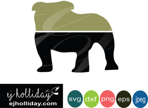 Ombre' Bulldog svg eps png dxf jpeg jpg digital cutting file