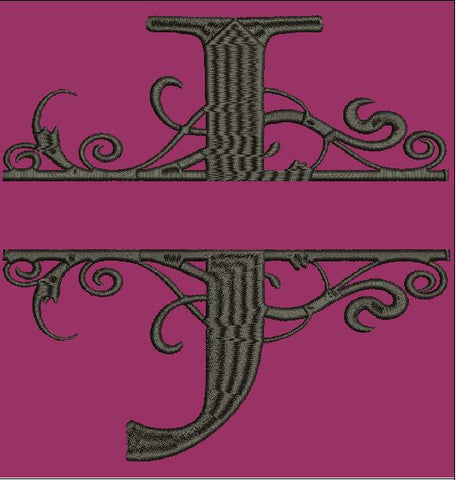 Fancy Letter J Split Design Embroidery Design 4X4 5X7 6X10 and 8X12