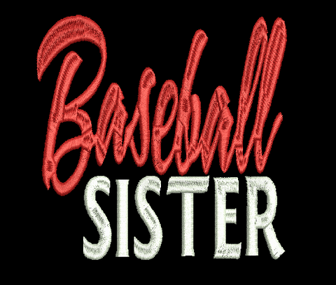 BASEBALL SISTER Machine Embroidery Design 4X4 5X7