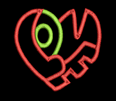 LOVE HEART Machine Embroidery Design 5X7
