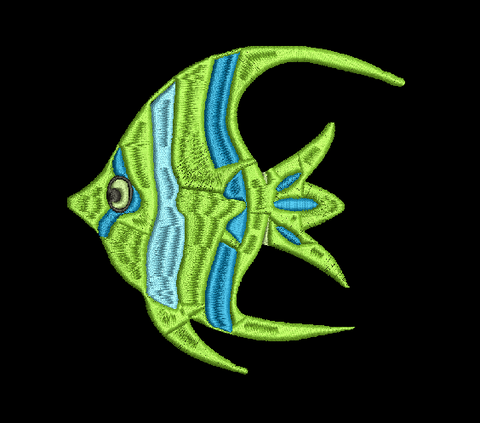 Tropical Fish  Machine Embroidery Design 5X7