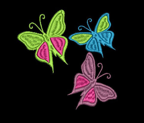 Embroidery Design 3 Butterflys  5X7 Simply Southern Legend Instant Download