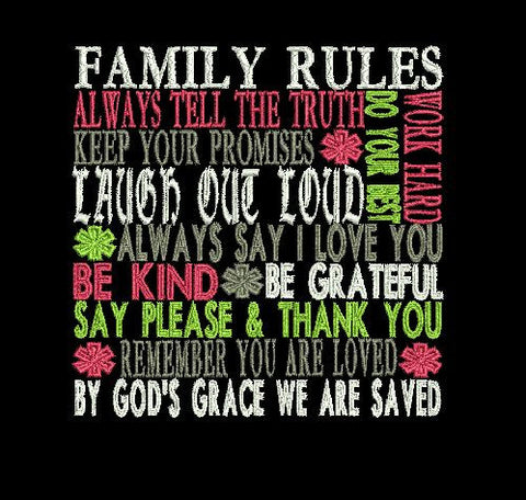 Family Rules Machine Embroidery Design 4X4 5X7