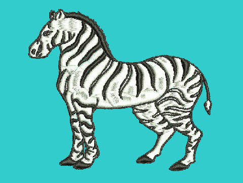 Zebra Machine Embroidery Design 4X4 5X7