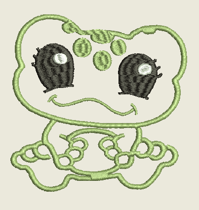 Small Frog Monogram  Machine Embroidery Design 3X3 4X4 5X7 6X10