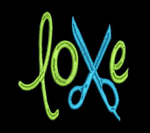 Love with Scissors Machine Embroidery Design 5X7 6X10 8X12