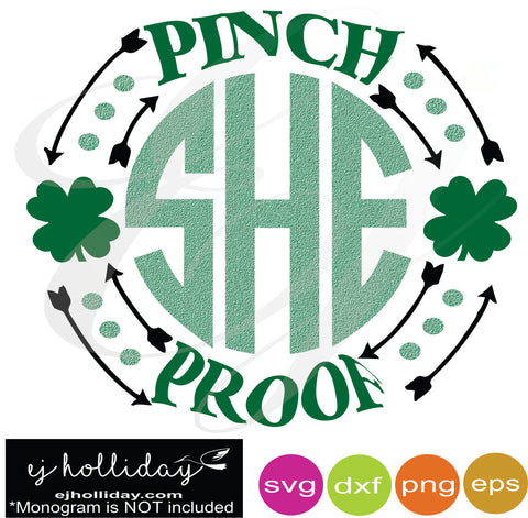 Pinch Proof St. Patrick's Day Monogram Frame svg dxf eps png Vector Graphic Design Digital Cutting File Instant Download Cameo Silhouette Cricut