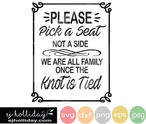 Please pick a seat not a side SVG EPS DXF JPG JPEG VECTOR Graphic Design Digital Cutting File Instant Download Cameo Silhouette Cricut