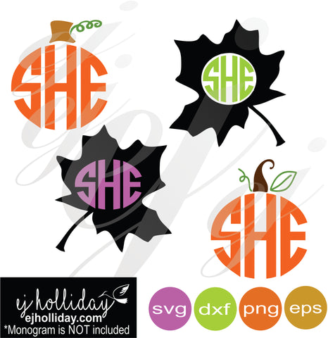 Pumpkin and Fall Leaves Monogram SVG EPS DXF PNG VECTOR Graphic Design Digital Cutting File Instant Download Cameo Silhouette Cricut