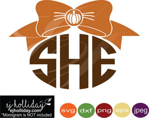 Pumpkin bow monogram svg eps png dxf jpeg jpg vector Graphic Design Digital Cutting File Instant Download Cameo Silhouette Cricut