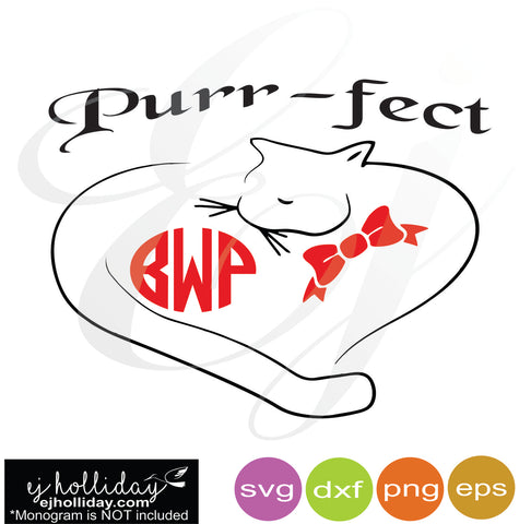 Purr-fect Monogram svg dxf eps png Vector Graphic Design Digital Cutting File Instant Download Cameo Silhouette Cricut