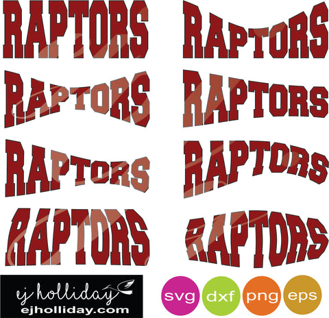 Raptors curved svg dxf eps png Vector Graphic Design Digital Cutting File Instant Download Cameo Silhouette Cricut