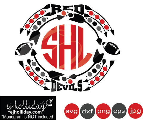 Red Devils Monogram Football svg eps png dxf jpeg jpg vector Graphic Design Digital Cutting File Instant Download Cameo Silhouette Cricut