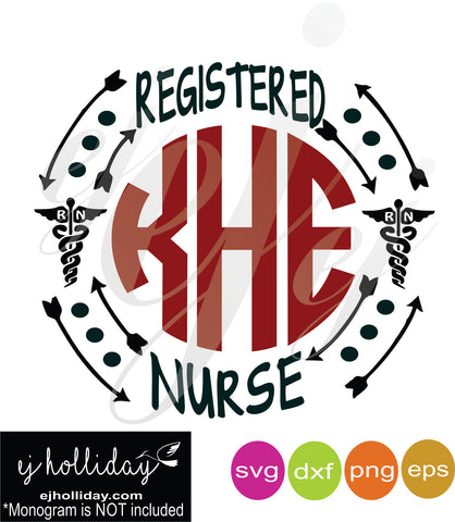 Registered Nurse Monogram SVG EPS DXF PNG VECTOR Graphic Design Digital Cutting File Instant Download Cameo Silhouette Cricut