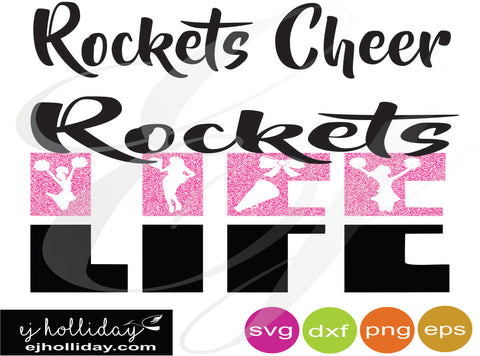 Rockets cheer Life svg dxf eps png Vector Graphic Design Digital Cutting File Instant Download Cameo Silhouette Cricut