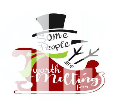 Frosty The Snowman Christmas Sleigh Some People are Worth Melting For Digital Cutting File Instant Download Silhouette Cricut SVG DXF