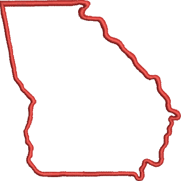 STATE OF GEORGIA APPLIQUE Embroidery Design 4X4