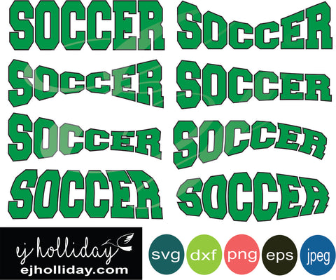 Soccer Curved svg eps dxf png jpeg jpg VECTOR Graphic Design Digital Cutting File Instant Download Cameo Silhouette Cricut