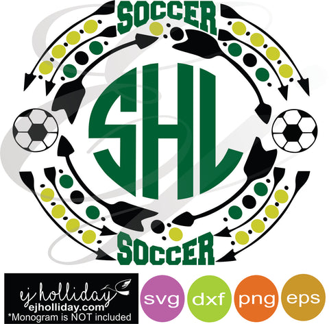 Soccer Sports Monogram Frame svg dxf eps png VECTOR Graphic Design Digital Cutting File Instant Download Cameo Silhouette Cricut